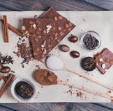 Ingredients for chocolate dessert preparation Stock Photography