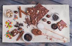 Ingredients for chocolate dessert preparation Stock Image