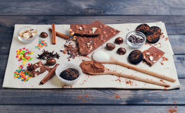 ingredients for chocolate dessert preparation Royalty Free Stock Images