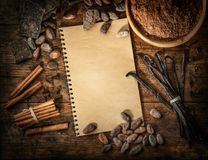 Ingredients for chocolate production on vintage desk. Ingredients for chocolate production on vintage wood desk royalty free stock image