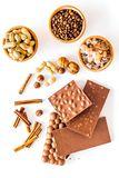 Ingredients for chocolates on white background top view Stock Images
