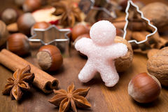 Ingredients for Christmas baking and sugar little man Stock Images