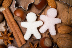 Ingredients for Christmas baking, sugar little men, selective focus Stock Photos