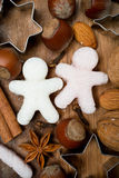 Ingredients for Christmas baking and sugar little men, vertical Stock Image