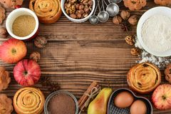 Ingredients for christmas baking. On wooden background, top view Royalty Free Stock Photography