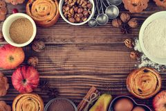 Ingredients for christmas baking. On wooden background, top view Stock Photo