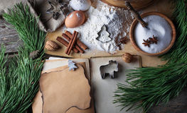 Ingredients for Christmas cookies and recipe book. Selective focus Stock Images