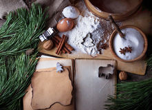 Ingredients for Christmas cookies and recipe book. Selective focus Stock Photos