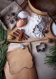 Ingredients for Christmas cookies and recipe book. Selective focus Royalty Free Stock Photos