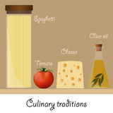 Ingredients for a classic pasta. Spaghetti, tomato, cheese, olive oil. Royalty Free Stock Photos