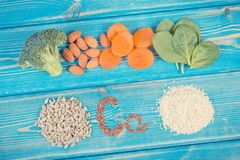 Ingredients containing calcium and dietary fiber, healthy nutrition royalty free stock photography