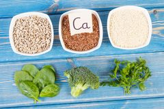 Ingredients containing calcium and dietary fiber, healthy nutrition. Ingredients containing calcium and dietary fiber, natural sources of minerals, healthy Royalty Free Stock Images
