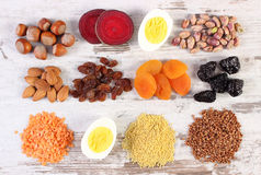Ingredients containing iron and dietary fiber, healthy nutrition Royalty Free Stock Photography