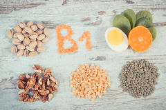 Ingredients containing vitamin B1 and dietary fiber, healthy nutrition concept Royalty Free Stock Photography