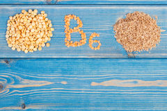 Ingredients containing vitamin B6 and dietary fiber, healthy nutrition, copy space for text on boards Stock Image