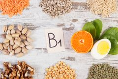 Ingredients containing vitamin B1 and dietary fiber, healthy nutrition Royalty Free Stock Image