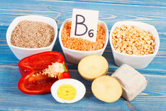 Ingredients containing vitamin B6, natural minerals and dietary fiber, healthy nutrition concept Stock Images