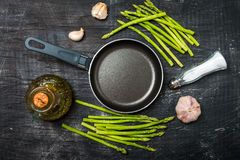 Ingredients for cooking asparagus Stock Photos
