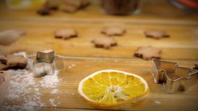 Ingredients for cooking baking. Flour, eggs, brown sugar and spices stock video footage