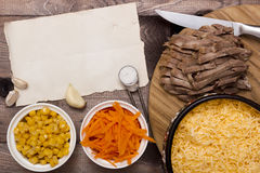 Ingredients for cooking of beef tongue Stock Image