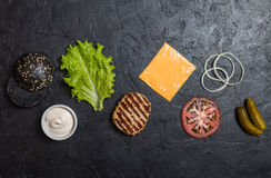 Ingredients for cooking black burger. Stock Photos