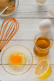 ingredients for cooking. Broken egg shells and oil. Royalty Free Stock Images