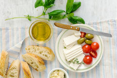 Ingredients cooking bruschetta, baguette, olive oil, tomatoes, b Stock Image