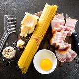 Ingredients for cooking Carbonara pasta, spaghetti with pancetta, egg and hard parmesan cheese. Traditional italian cuisine. Pasta. Alla carbonara. Top view stock image