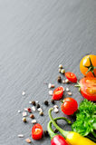 Ingredients for cooking with cherry tomatoes, herbs, chilis, cop Royalty Free Stock Image