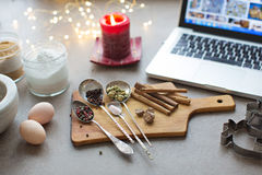 Ingredients for cooking Christmas baking. Spaces stock photography