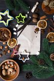 Ingredients for cooking Christmas gingerbread cookies stock photography