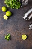 Ingredients for cooking cocktail with shaker. Ingredients for cooking cocktail with lime, mint and shaker royalty free stock photos
