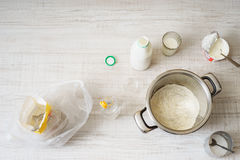 Ingredients for cooking dough pizza on the table Stock Photography