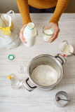 Ingredients for cooking dough pizza on the white table Stock Images