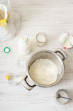 Ingredients for cooking dough pizza on the wooden table Stock Images