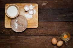 Ingredients for cooking eggs (background).  Stock Photos