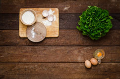 Ingredients for cooking eggs (background) Stock Photo