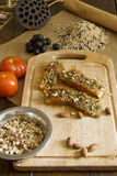 Ingredients for cooking fish. Marinaded fish with almonds and garnish Royalty Free Stock Photography