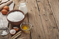 Ingredients for cooking flour products or dough Royalty Free Stock Photography