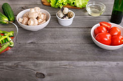 Ingredients for cooking healthy food stock images