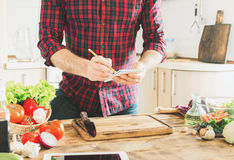 Ingredients for cooking healthy food on a wooden table royalty free stock photos