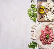 Ingredients for cooking homemade mincemeat on paper, parsley, garlic, onion bun and oils, border ,place for text  on wooden rustic Royalty Free Stock Image