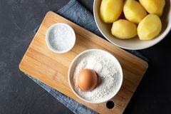 Ingredients for cooking Italian cuisine gnocchi - boiled potatoes, flour, egg and salt stock photo