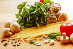 Ingredients for cooking Italian pasta Stock Images