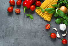 Ingredients for cooking Italian pasta Stock Photos