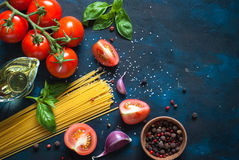 Ingredients for cooking Italian pasta Royalty Free Stock Photography