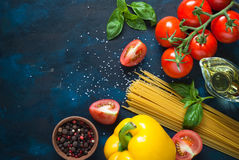Ingredients for cooking Italian pasta Stock Image