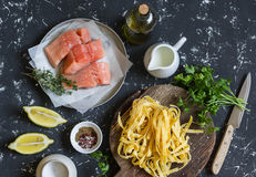 Ingredients for cooking lunch - raw salmon, dry pasta tagliatelle, cream, olive oil, spices and herbs. On a dark background Stock Image