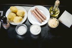 Ingredients for cooking meals, Bavarian sausages Royalty Free Stock Photography