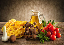 Ingredients for cooking noodles with mushrooms Royalty Free Stock Photography